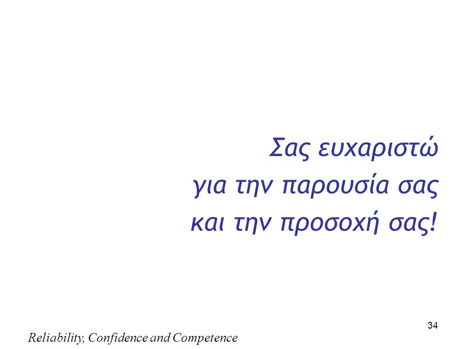 Reliability, Confidence and Competence 34 Σας ευχαριστώ για την παρουσία σας και την προσοχή σας!