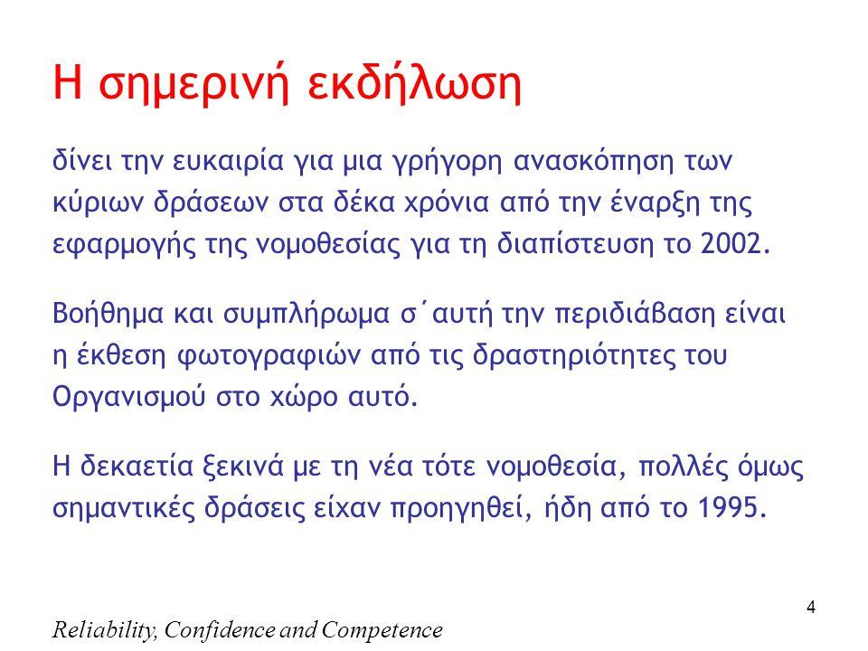 Reliability, Confidence and Competence 4 Η σημερινή εκδήλωση δίνει την ευκαιρία για μια γρήγορη ανασκόπηση των κύριων δράσεων στα δέκα χρόνια από την έναρξη της εφαρμογής της νομοθεσίας για τη διαπίστευση το 2002.