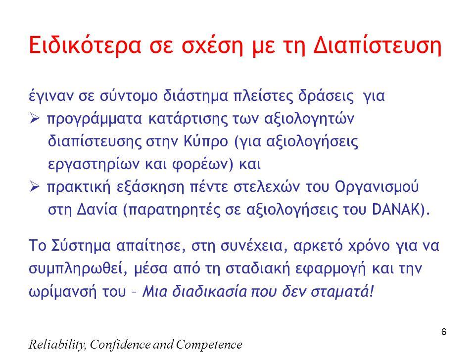 Reliability, Confidence and Competence 6 Eιδικότερα σε σχέση με τη Διαπίστευση έγιναν σε σύντομο διάστημα πλείστες δράσεις για  προγράμματα κατάρτισης των αξιολογητών διαπίστευσης στην Κύπρο (για αξιολογήσεις εργαστηρίων και φορέων) και  πρακτική εξάσκηση πέντε στελεχών του Οργανισμού στη Δανία (παρατηρητές σε αξιολογήσεις του DANAK).