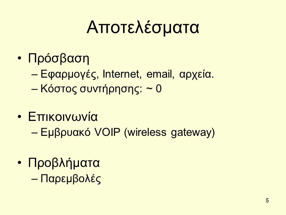 5 Αποτελέσματα •Πρόσβαση –Εφαρμογές, Internet, email, αρχεία. –Κόστος συντήρησης: ~ 0 •Επικοινωνία –Εμβρυακό VOIP (wireless gateway) •Προβλήματα –Παρε
