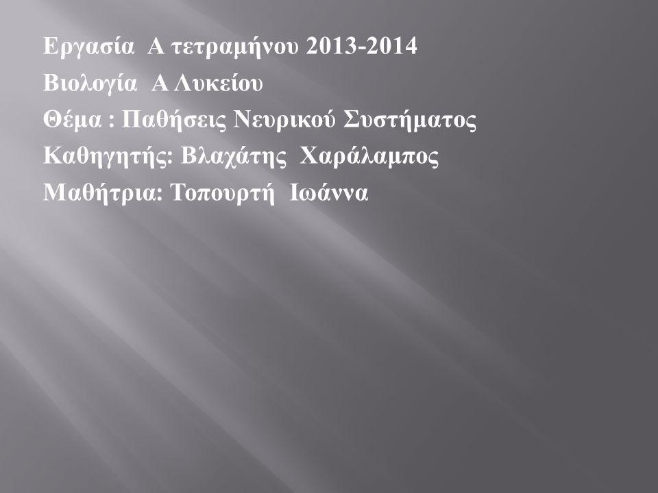 Εργασία Α τετραμήνου 2013-2014 Βιολογία Α Λυκείου Θέμα : Παθήσεις Νευρικού Συστήματος Καθηγητής : Βλαχάτης Χαράλαμπος Μαθήτρια : Τοπουρτή Ιωάννα