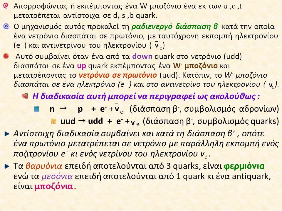 Απορροφώντας ή εκπέμποντας ένα W μποζόνιο ένα εκ των u,c,t μετατρέπεται αντίστοιχα σε d, s,b quark. Ο μηχανισμός αυτός προκαλεί τη ραδιενεργό διάσπαση
