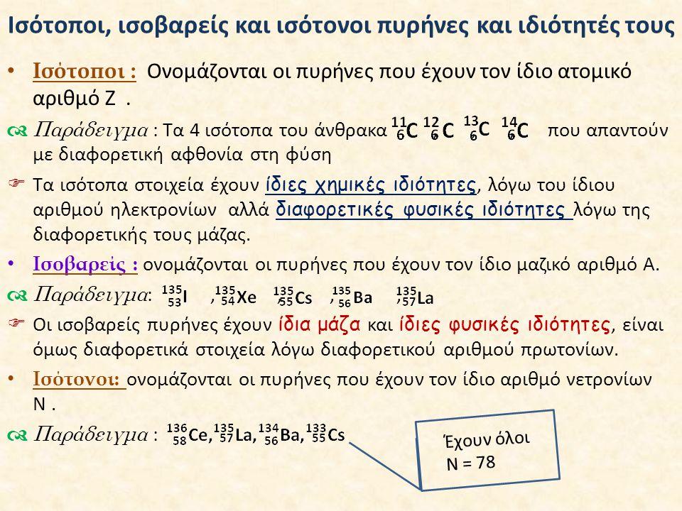 Ισότοποι, ισοβαρείς και ισότονοι πυρήνες και ιδιότητές τους • Ισότοποι : Ονομάζονται οι πυρήνες που έχουν τον ίδιο ατομικό αριθμό Ζ.  Παράδειγμα : Τα