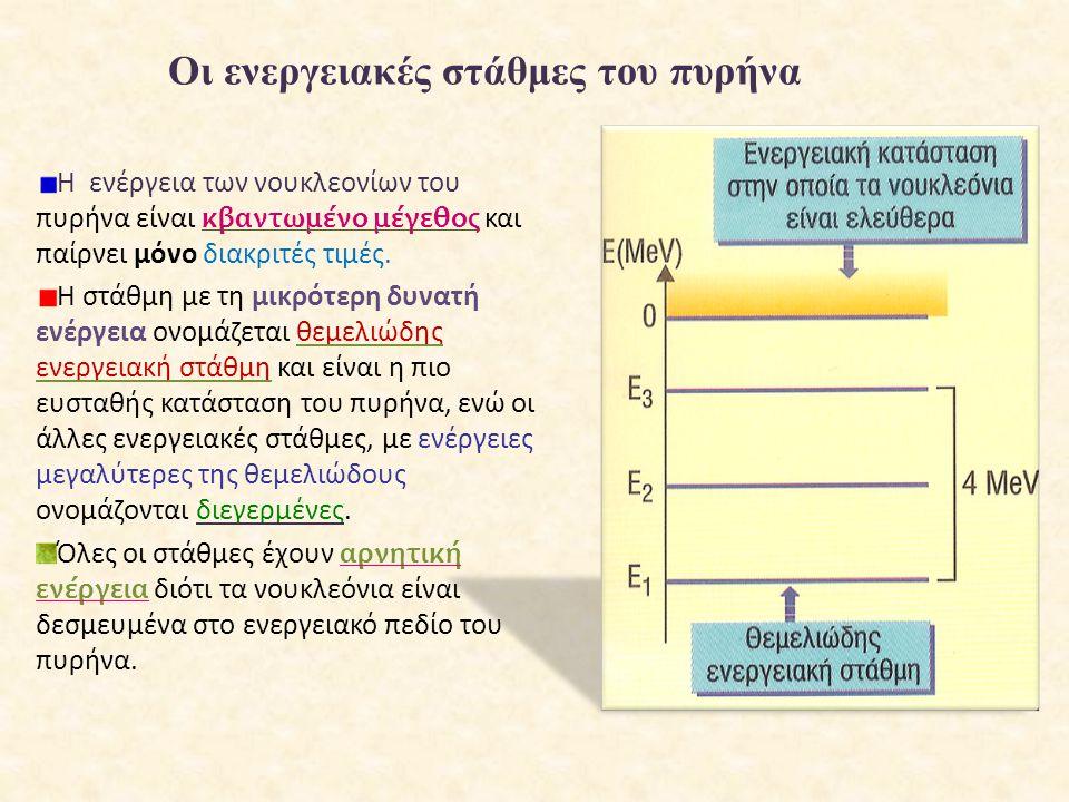 Οι ενεργειακές στάθμες του πυρήνα Η ενέργεια των νουκλεονίων του πυρήνα είναι κβαντωμένο μέγεθος και παίρνει μόνο διακριτές τιμές. Η στάθμη με τη μικρ