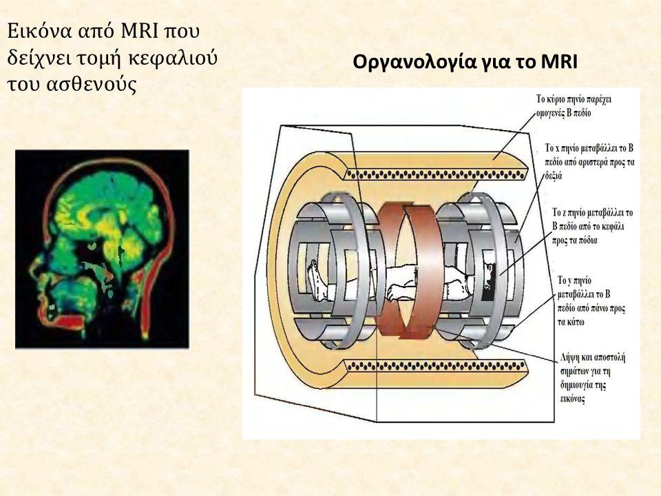Εικόνα από MRI που δείχνει τομή κεφαλιού του ασθενούς Οργανολογία για το MRI