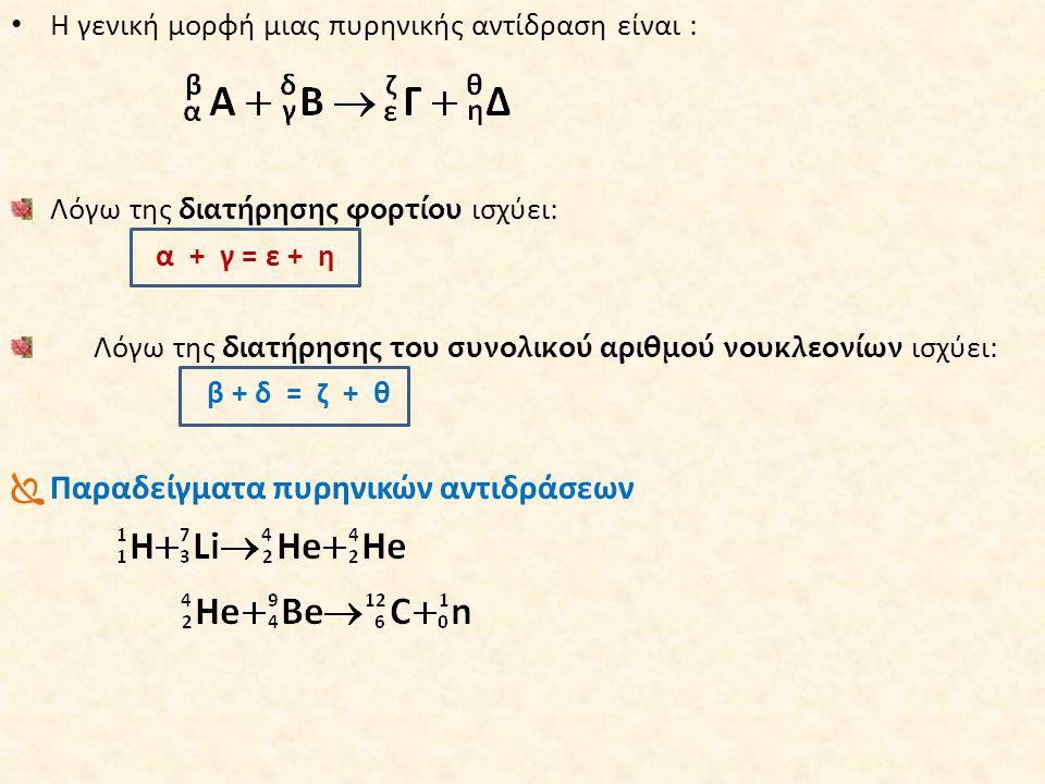 • Η γενική μορφή μιας πυρηνικής αντίδραση είναι : Λόγω της διατήρησης φορτίου ισχύει: α + γ = ε + η Λόγω της διατήρησης του συνολικού αριθμού νουκλεον