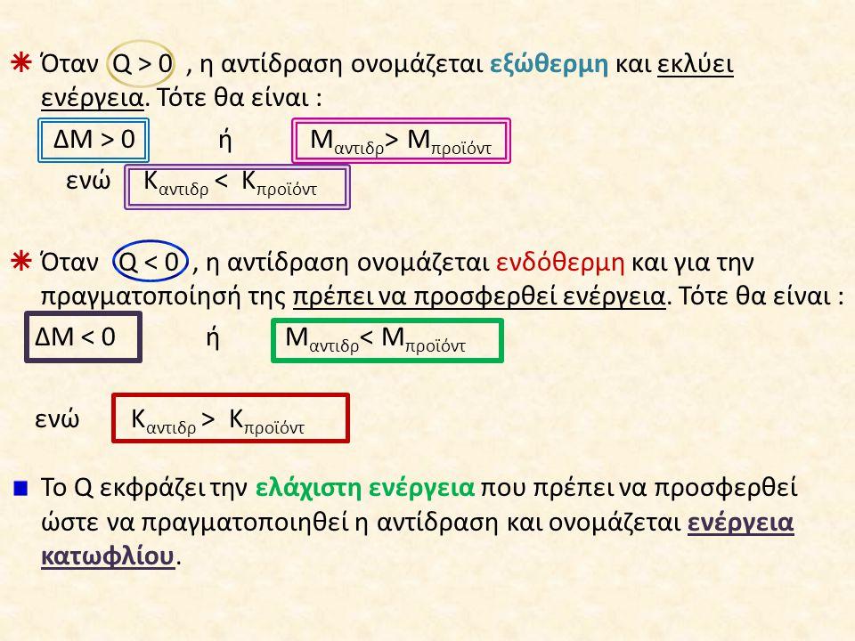  Όταν Q > 0, η αντίδραση ονομάζεται εξώθερμη και εκλύει ενέργεια. Τότε θα είναι : ΔΜ > 0 ή Μ αντιδρ > Μ προϊόντ ενώ Κ αντιδρ < Κ προϊόντ  Όταν Q < 0
