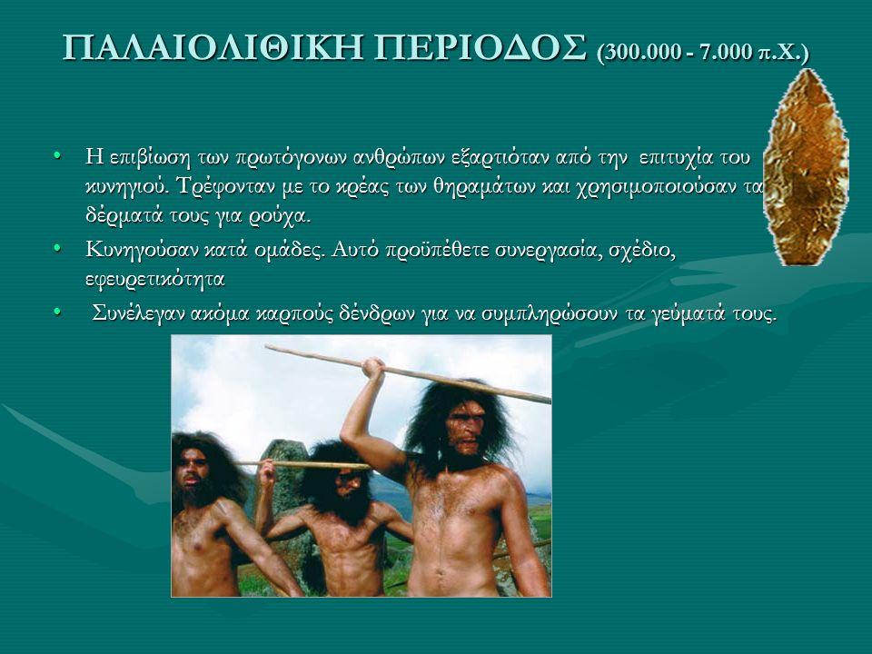 ΠΑΛΑΙΟΛΙΘΙΚΗ ΠΕΡΙΟΔΟΣ (300.000 - 7.000 π.Χ.) •Η επιβίωση των πρωτόγονων ανθρώπων εξαρτιόταν από την επιτυχία του κυνηγιού. Τρέφονταν με το κρέας των θ