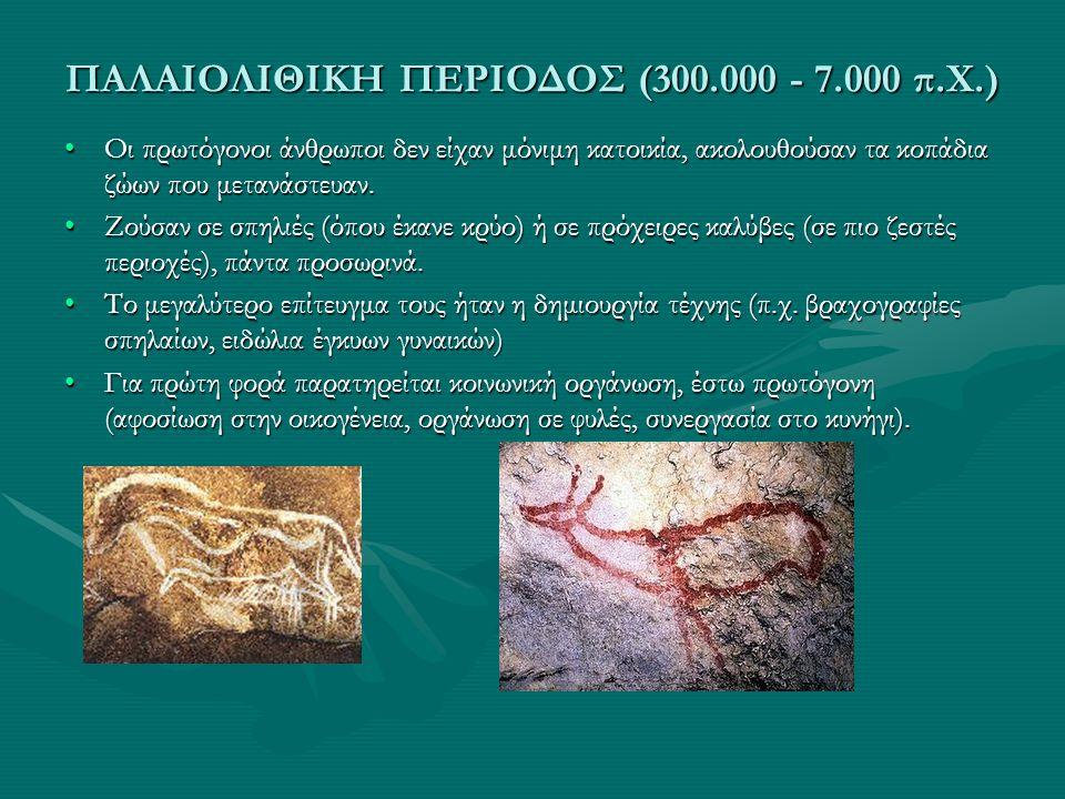 ΠΑΛΑΙΟΛΙΘΙΚΗ ΠΕΡΙΟΔΟΣ (300.000 - 7.000 π.Χ.) •Οι πρωτόγονοι άνθρωποι δεν είχαν μόνιμη κατοικία, ακολουθούσαν τα κοπάδια ζώων που μετανάστευαν. •Ζούσαν