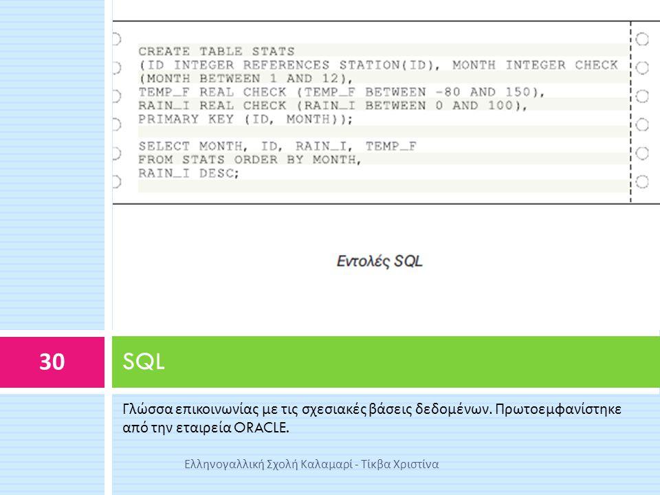 Γλώσσα επικοινωνίας με τις σχεσιακές βάσεις δεδομένων. Πρωτοεμφανίστηκε από την εταιρεία ORACLE. SQL 30 Ελληνογαλλική Σχολή Καλαμαρί - Τίκβα Χριστίνα