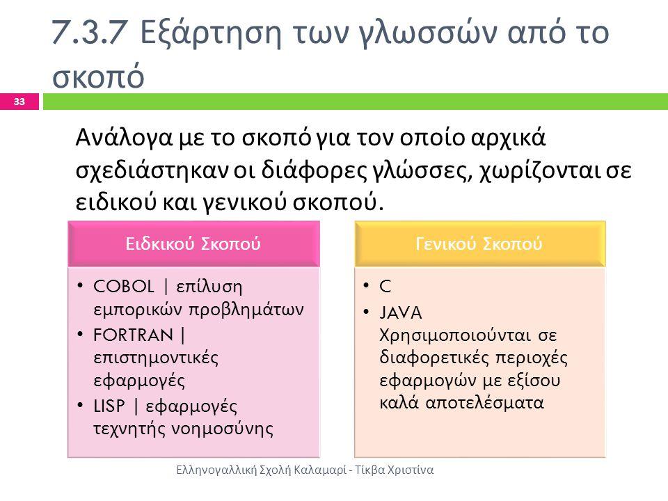 7.3.7 Εξάρτηση των γλωσσών από το σκοπό Ελληνογαλλική Σχολή Καλαμαρί - Τίκβα Χριστίνα 33 Ανάλογα με το σκοπό για τον οποίο αρχικά σχεδιάστηκαν οι διάφ