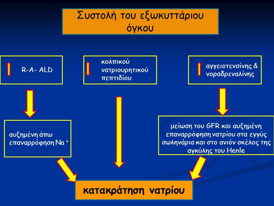 Συστολή του εξωκυττάριου όγκου R-A- ALD αγγειοτενσίνης & νοραδρεναλίνης κολπικού νατριουρητικού πεπτιδίου αυξημένη άπω επαναρρόφηση Na + μείωση του GFR και αυξημένη επαναρρόφηση νατρίου στα εγγύς σωληνάρια και στο ανιόν σκέλος της αγκύλης του Henle κατακράτηση νατρίου
