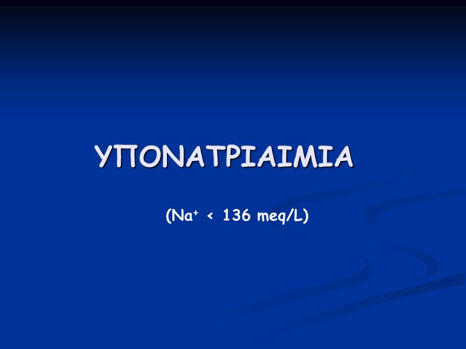 Υπονατριαιμία  Είναι η πιο συχνή ηλεκτρολυτική διαταραχή σε νοσηλευόμενους ασθενείς  Η επίπτωση είναι ιδιαίτερα υψηλή (μέχρι 53%) σε ηλικιωμένους, νοσηλευόμενους ή ιδρυματοποιημένους ασθενείς  Συνοδεύεται από αυξημένη νοσηρότητα και θνητότητα (Na + < 130 meq/l)