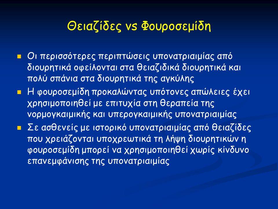 Θειαζίδες vs Φουροσεμίδη   Οι περισσότερες περιπτώσεις υπονατριαιμίας από διουρητικά οφείλονται στα θειαζιδικά διουρητικά και πολύ σπάνια στα διουρη