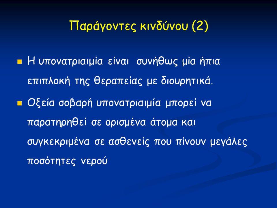 Παράγοντες κινδύνου (2)   Η υπονατριαιμία είναι συνήθως μία ήπια επιπλοκή της θεραπείας με διουρητικά.