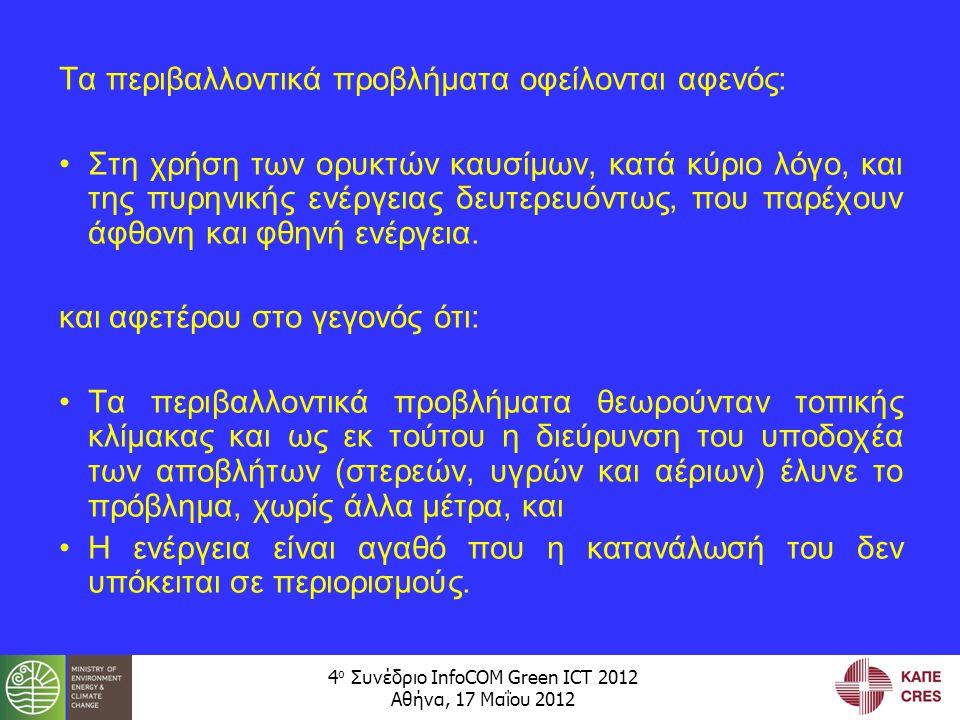 4 ο Συνέδριο InfoCOM Green ICT 2012 Αθήνα, 17 Μαΐου 2012 Τα περιβαλλοντικά προβλήματα οφείλονται αφενός: •Στη χρήση των ορυκτών καυσίμων, κατά κύριο λόγο, και της πυρηνικής ενέργειας δευτερευόντως, που παρέχουν άφθονη και φθηνή ενέργεια.