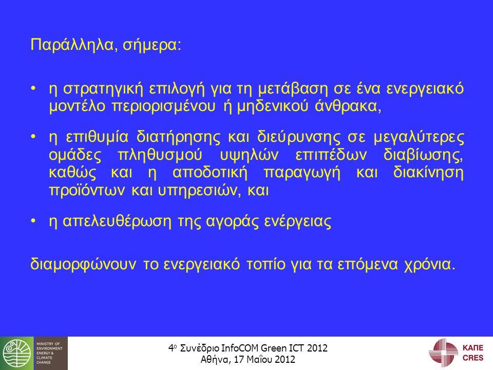 4 ο Συνέδριο InfoCOM Green ICT 2012 Αθήνα, 17 Μαΐου 2012 Παράλληλα, σήμερα: •η στρατηγική επιλογή για τη μετάβαση σε ένα ενεργειακό μοντέλο περιορισμένου ή μηδενικού άνθρακα, •η επιθυμία διατήρησης και διεύρυνσης σε μεγαλύτερες ομάδες πληθυσμού υψηλών επιπέδων διαβίωσης, καθώς και η αποδοτική παραγωγή και διακίνηση προϊόντων και υπηρεσιών, και •η απελευθέρωση της αγοράς ενέργειας διαμορφώνουν το ενεργειακό τοπίο για τα επόμενα χρόνια.