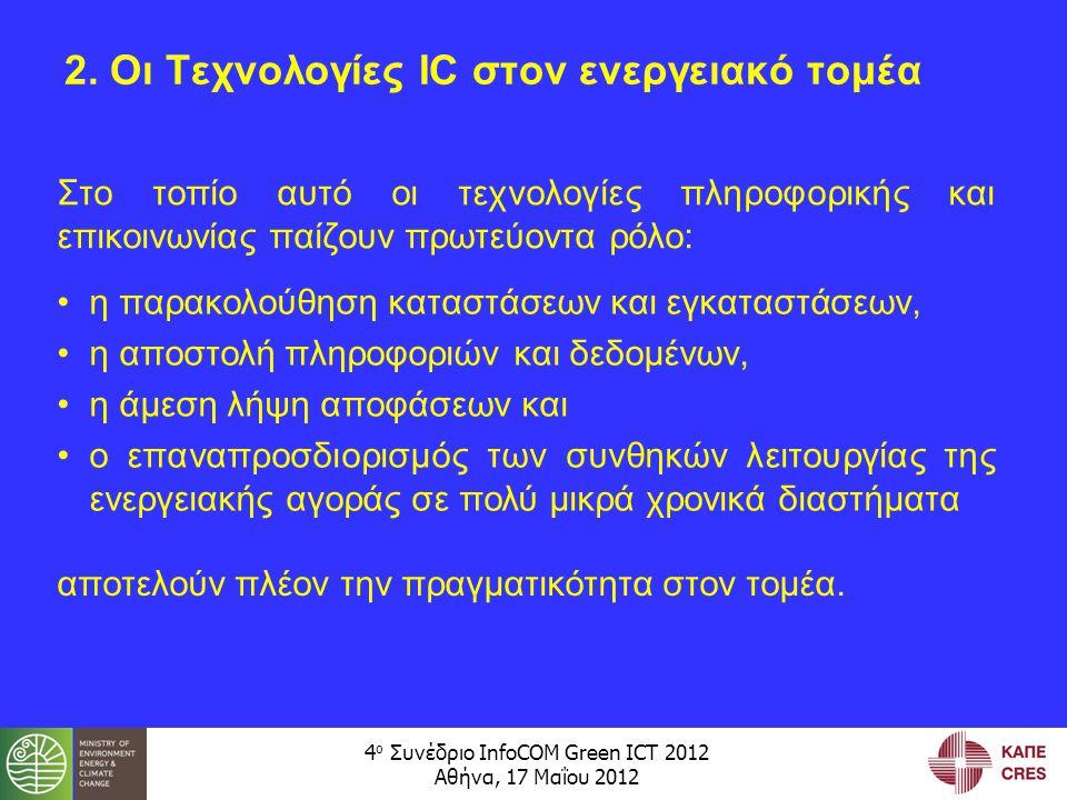 4 ο Συνέδριο InfoCOM Green ICT 2012 Αθήνα, 17 Μαΐου 2012 Οι συνθήκες αυτές αφορούν: –στην παραγωγή, μεταφορά και διανομή της ενέργειας, καθώς και –στην κατανάλωσή της από τους χρήστες Έτσι, οδηγούμαστε σε μια σειρά «έξυπνων» συστημάτων και εγκαταστάσεων: –έξυπνοι μετρητές, –έξυπνα δίκτυα, –έξυπνα κτίρια, –έξυπνα οχήματα και –έξυπνες πόλεις