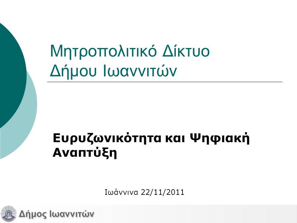 Μητροπολιτικό Δίκτυο Δήμου Ιωαννιτών Ευρυζωνικότητα και Ψηφιακή Αναπτύξη Ιωάννινα 22/11/2011