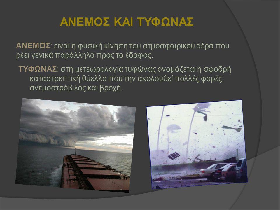 ΑΝΕΜΟΣ ΚΑΙ ΤΥΦΩΝΑΣ ΤΥΦΩΝΑΣ: στη μετεωρολογία τυφώνας ονομάζεται η σφοδρή καταστρεπτική θύελλα που την ακολουθεί πολλές φορές ανεμοστρόβιλος και βροχή.