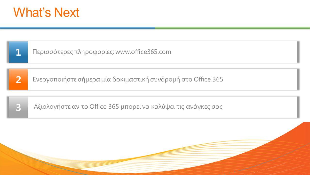 What's Next 2 1 3 Περισσότερες πληροφορίες: www.office365.com Ενεργοποιήστε σήμερα μία δοκιμαστική συνδρομή στο Office 365 Αξιολογήστε αν το Office 36