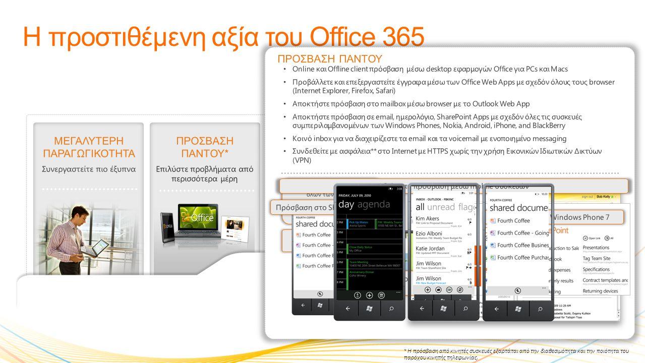 ΜΕΓΑΛΥΤΕΡΗ ΠΑΡΑΓΩΓΙΚΟΤΗΤΑ Συνεργαστείτε πιο έξυπνα Η προστιθέμενη αξία του Office 365 ΠΡΟΣΒΑΣΗ ΠΑΝΤΟΥ* Επιλύστε προβλήματα από περισσότερα μέρη ΕΡΓΑΣΤΕΙΤΕ ΟΠΩΣ ΓΝΩΡΙΖΕΤΕ Γνώριμα προγράμματα ΙΣΧΥΡΗ ΑΣΦΑΛΕΙΑ ΚΑΙ ΑΞΙΟΠΙΣΤΙΑ Εγγυημένη διαθεσιμότητα της τάξης του 99,9% ΑΠΟΔΟΤΙΚΟΣ ΕΛΕΓΧΟΣ IT Σας δίνει το έλεγχο • Εργαστείτε απλά, με ελάχιστη εκπαίδευση και γίνεται παραγωγικοί αμέσως.