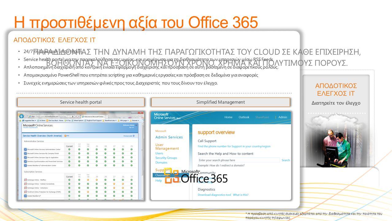 ΜΕΓΑΛΥΗΤΕΡΗ ΠΑΡΑΓΩΓΙΚΟΤΗΤΑ Συνεργαστείτε πιο έξυπνα Η προστιθέμενη αξία του Office 365 ΠΡΟΣΒΑΣΗ ΠΑΝΤΟΥ* Επιλύστε προβλήματα από περισσότερα μέρη ΕΡΓΑΣ