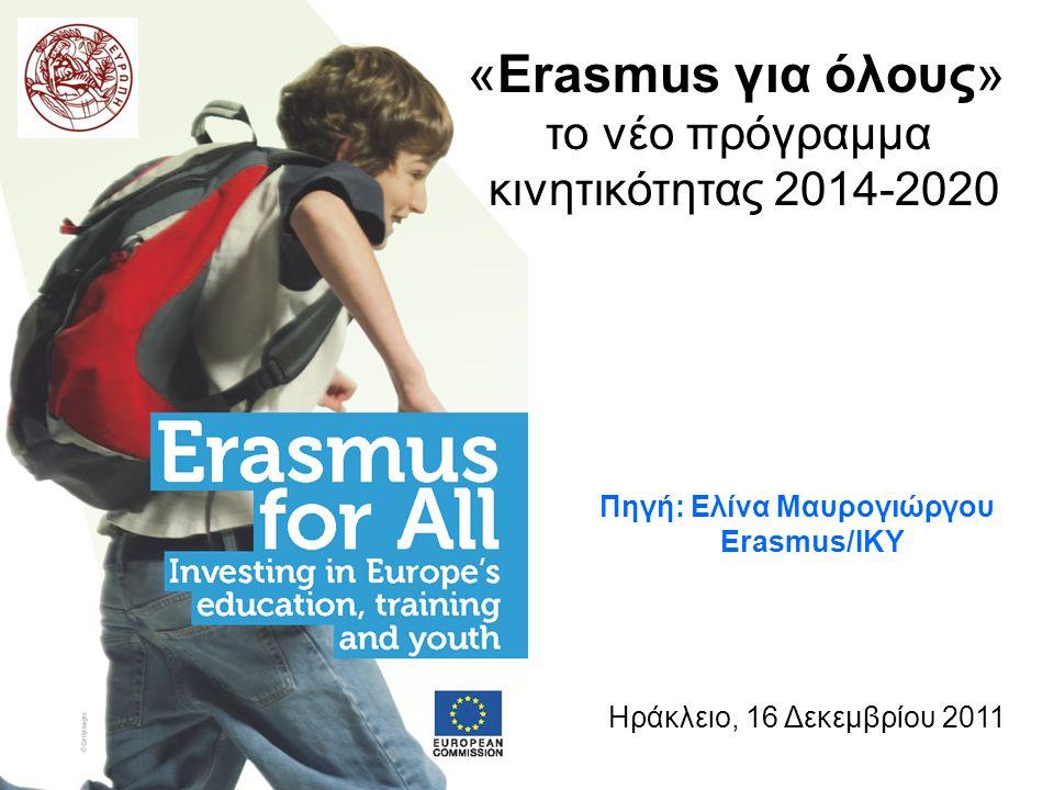 «Erasmus για όλους» το νέο πρόγραμμα κινητικότητας 2014-2020 Ηράκλειο, 16 Δεκεμβρίου 2011 Πηγή: Ελίνα Μαυρογιώργου Erasmus/ΙΚΥ