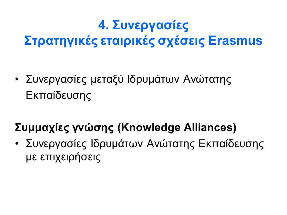 4. Συνεργασίες Στρατηγικές εταιρικές σχέσεις Erasmus •Συνεργασίες μεταξύ Ιδρυμάτων Ανώτατης Εκπαίδευσης Συμμαχίες γνώσης (Knowledge Alliances) •Συνεργ