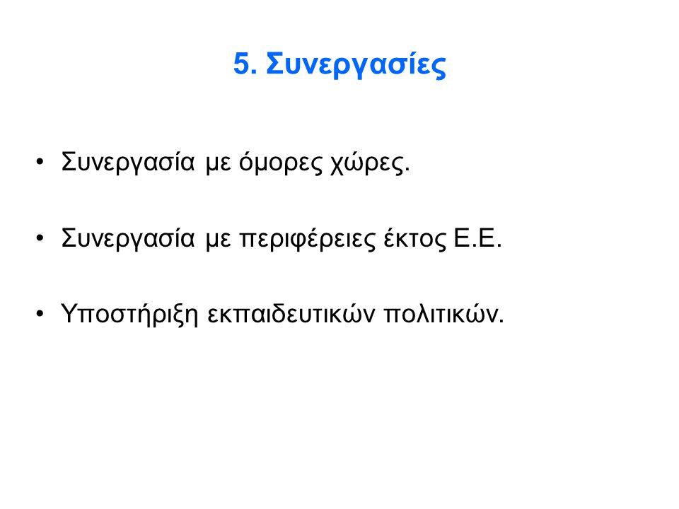 5. Συνεργασίες •Συνεργασία με όμορες χώρες. •Συνεργασία με περιφέρειες έκτος Ε.Ε. •Υποστήριξη εκπαιδευτικών πολιτικών.