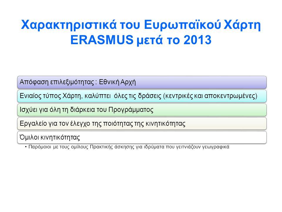 Χαρακτηριστικά του Ευρωπαϊκού Χάρτη ERASMUS μετά το 2013 Απόφαση επιλεξιμότητας : Eθνική ΑρχήΕνιαίος τύπος Χάρτη, καλύπτει όλες τις δράσεις (κεντρικές
