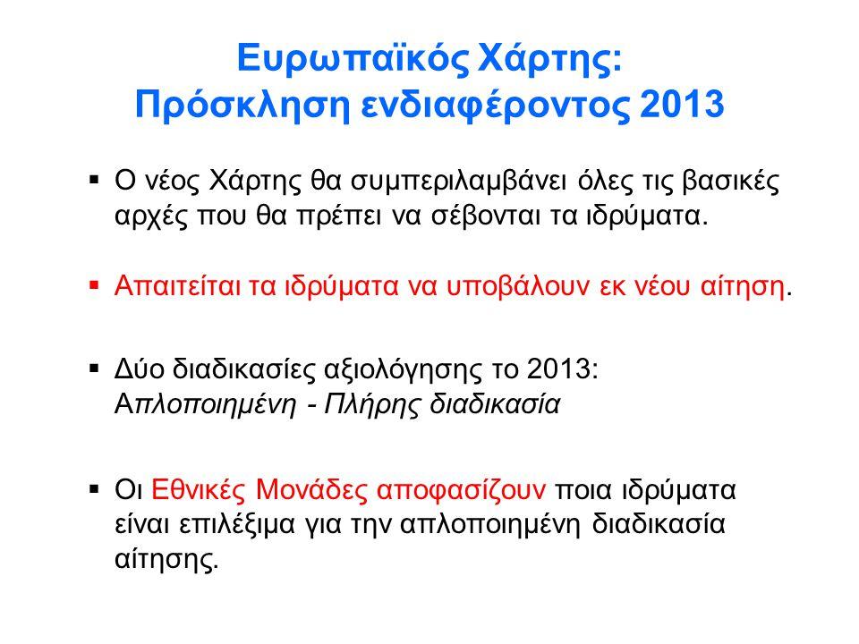 Ευρωπαϊκός Χάρτης: Πρόσκληση ενδιαφέροντος 2013  Ο νέος Χάρτης θα συμπεριλαμβάνει όλες τις βασικές αρχές που θα πρέπει να σέβονται τα ιδρύματα.  Απα