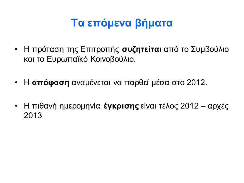 Τα επόμενα βήματα •Η πρόταση της Επιτροπής συζητείται από το Συμβούλιο και το Ευρωπαϊκό Κοινοβούλιο. •Η απόφαση αναμένεται να παρθεί μέσα στο 2012. •Η