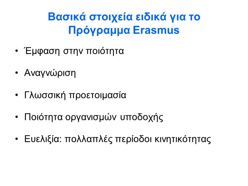 Βασικά στοιχεία ειδικά για το Πρόγραμμα Erasmus •Έμφαση στην ποιότητα •Αναγνώριση •Γλωσσική προετοιμασία •Ποιότητα οργανισμών υποδοχής •Ευελιξία: πολλ
