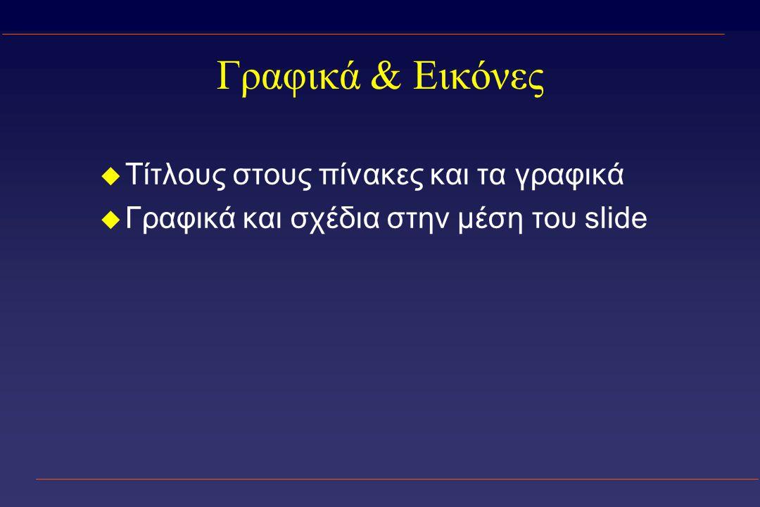 Γραφικά & Εικόνες u Τίτλους στους πίνακες και τα γραφικά u Γραφικά και σχέδια στην μέση του slide