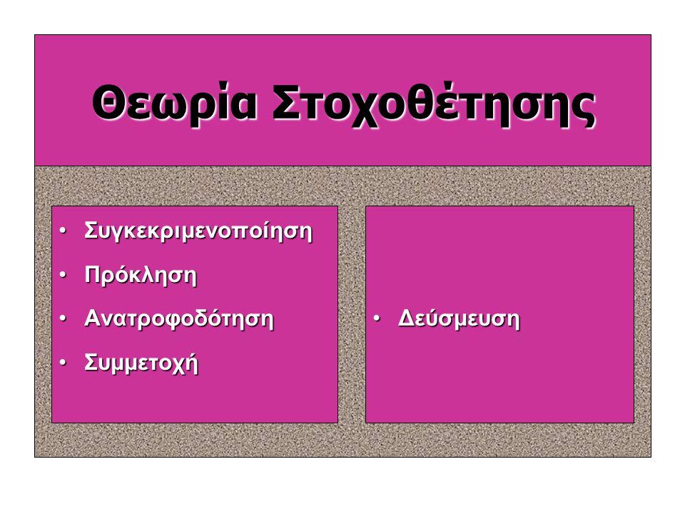 Θεωρία της στοχοθέτησης (Edwin Locke) θεωρία του ορισμού στόχων Η θεωρία με βάση την οποία σαφείς και δύσκολοι στόχοι, με επανατροφοδότηση, οδηγούν σε
