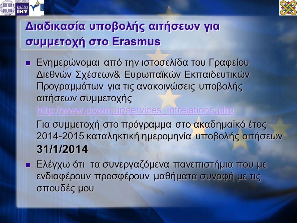Διαδικασία υποβολής αιτήσεων για συμμετοχή στο Erasmus  Ενημερώνομαι από την ιστοσελίδα του Γραφείου Διεθνών Σχέσεων& Ευρωπαϊκών Εκπαιδευτικών Προγραμμάτων για τις ανακοινώσεις υποβολής αιτήσεων συμμετοχής http://www.uowm.gr/services_intrelations.php http://www.uowm.gr/services_intrelations.php Για συμμετοχή στο πρόγραμμα στο ακαδημαϊκό έτος 2014-2015 καταληκτική ημερομηνία υποβολής αιτήσεων 31/1/2014  Ελέγχω ότι τα συνεργαζόμενα πανεπιστήμια που με ενδιαφέρουν προσφέρουν μαθήματα συναφή με τις σπουδές μου  Ενημερώνομαι από την ιστοσελίδα του Γραφείου Διεθνών Σχέσεων& Ευρωπαϊκών Εκπαιδευτικών Προγραμμάτων για τις ανακοινώσεις υποβολής αιτήσεων συμμετοχής http://www.uowm.gr/services_intrelations.php http://www.uowm.gr/services_intrelations.php Για συμμετοχή στο πρόγραμμα στο ακαδημαϊκό έτος 2014-2015 καταληκτική ημερομηνία υποβολής αιτήσεων 31/1/2014  Ελέγχω ότι τα συνεργαζόμενα πανεπιστήμια που με ενδιαφέρουν προσφέρουν μαθήματα συναφή με τις σπουδές μου