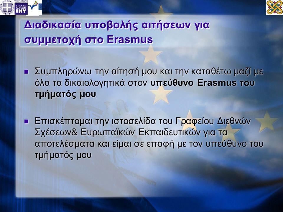 Διαδικασία υποβολής αιτήσεων για συμμετοχή στο Erasmus  Συμπληρώνω την αίτησή μου και την καταθέτω μαζί με όλα τα δικαιολογητικά στον υπεύθυνο Erasmus του τμήματός μου  Επισκέπτομαι την ιστοσελίδα του Γραφείου Διεθνών Σχέσεων& Ευρωπαϊκών Εκπαιδευτικών για τα αποτελέσματα και είμαι σε επαφή με τον υπεύθυνο του τμήματός μου  Συμπληρώνω την αίτησή μου και την καταθέτω μαζί με όλα τα δικαιολογητικά στον υπεύθυνο Erasmus του τμήματός μου  Επισκέπτομαι την ιστοσελίδα του Γραφείου Διεθνών Σχέσεων& Ευρωπαϊκών Εκπαιδευτικών για τα αποτελέσματα και είμαι σε επαφή με τον υπεύθυνο του τμήματός μου