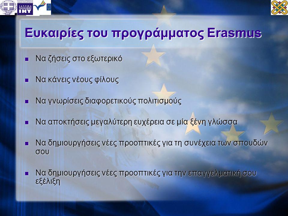 Ευκαιρίες του προγράμματος Erasmus  Να ζήσεις στο εξωτερικό  Να κάνεις νέους φίλους  Να γνωρίσεις διαφορετικούς πολιτισμούς  Να αποκτήσεις μεγαλύτ