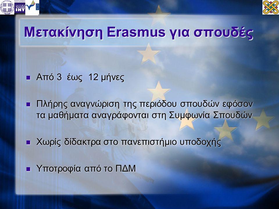 Μετακίνηση Erasmus για σπουδές  Από 3 έως 12 μήνες  Πλήρης αναγνώριση της περιόδου σπουδών εφόσον τα μαθήματα αναγράφονται στη Συμφωνία Σπουδών  Χωρίς δίδακτρα στο πανεπιστήμιο υποδοχής  Υποτροφία από το ΠΔΜ  Από 3 έως 12 μήνες  Πλήρης αναγνώριση της περιόδου σπουδών εφόσον τα μαθήματα αναγράφονται στη Συμφωνία Σπουδών  Χωρίς δίδακτρα στο πανεπιστήμιο υποδοχής  Υποτροφία από το ΠΔΜ