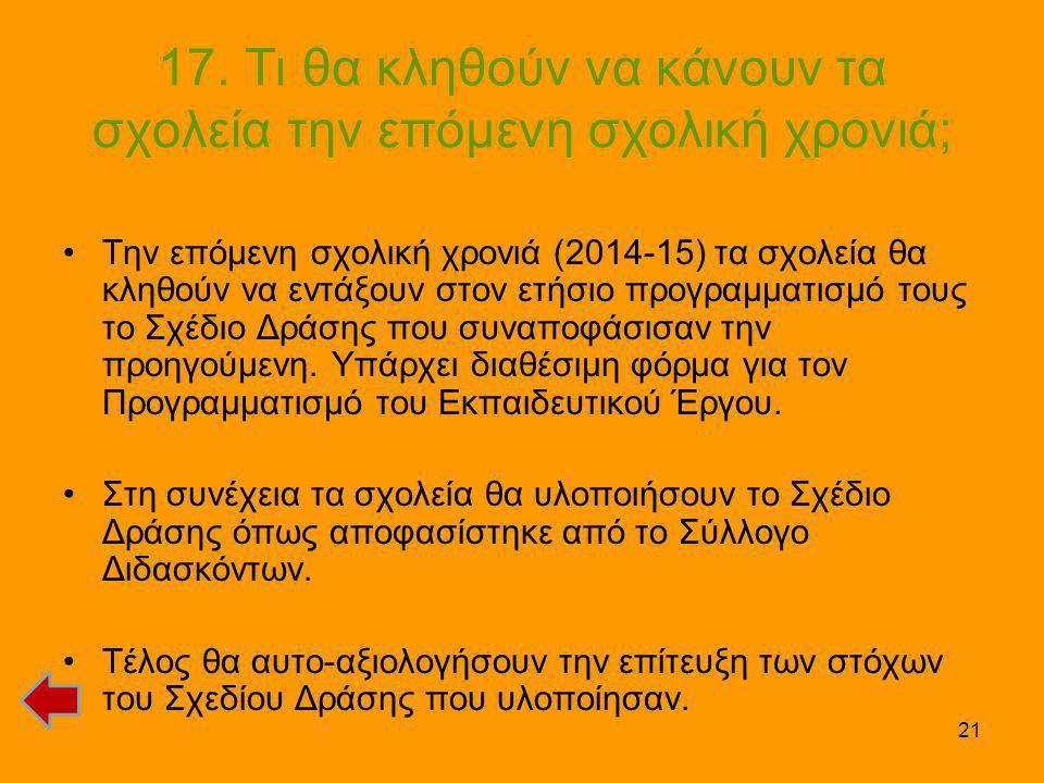 21 17. Τι θα κληθούν να κάνουν τα σχολεία την επόμενη σχολική χρονιά; •Την επόμενη σχολική χρονιά (2014-15) τα σχολεία θα κληθούν να εντάξουν στον ετή