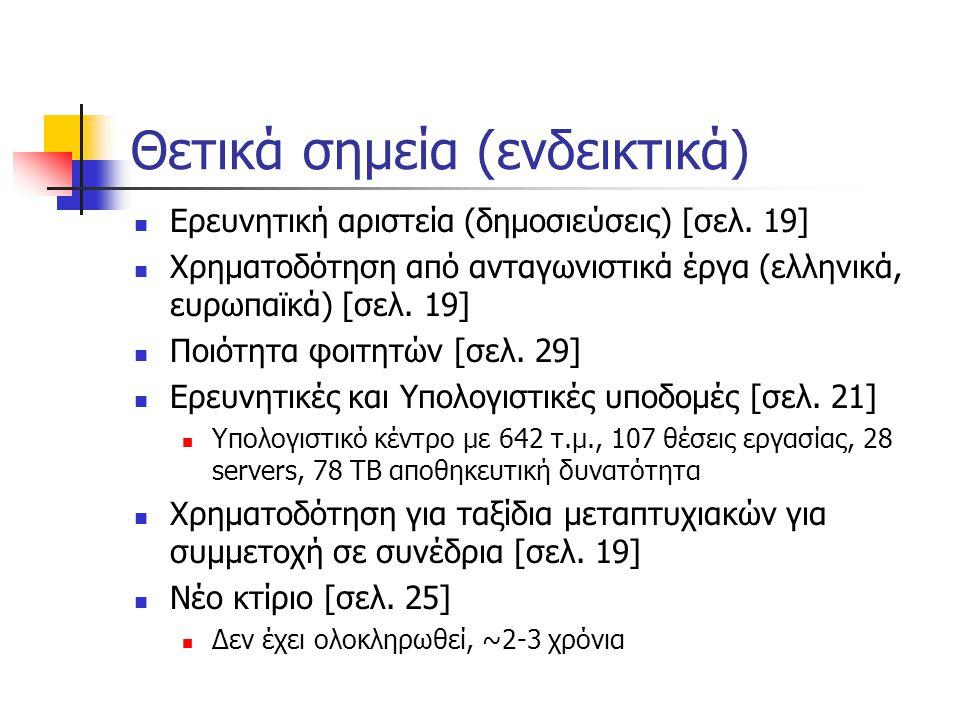 Θετικά σημεία (ενδεικτικά)  Ερευνητική αριστεία (δημοσιεύσεις) [σελ. 19]  Χρηματοδότηση από ανταγωνιστικά έργα (ελληνικά, ευρωπαϊκά) [σελ. 19]  Ποι