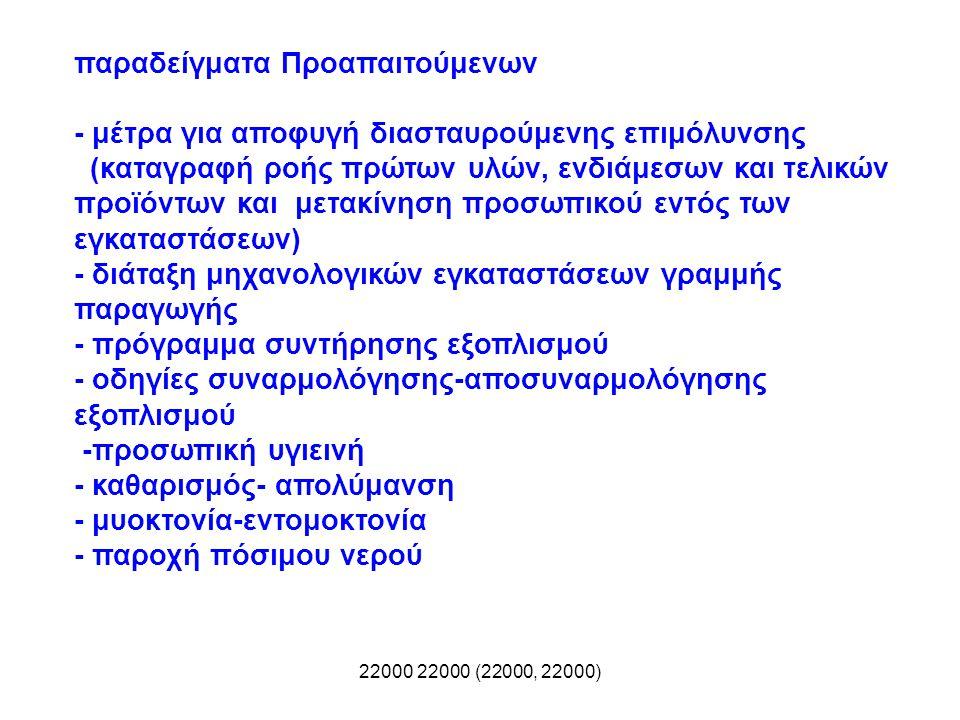 22000 22000 (22000, 22000) παραδείγματα Προαπαιτούμενων - μέτρα για αποφυγή διασταυρούμενης επιμόλυνσης (καταγραφή ροής πρώτων υλών, ενδιάμεσων και τε