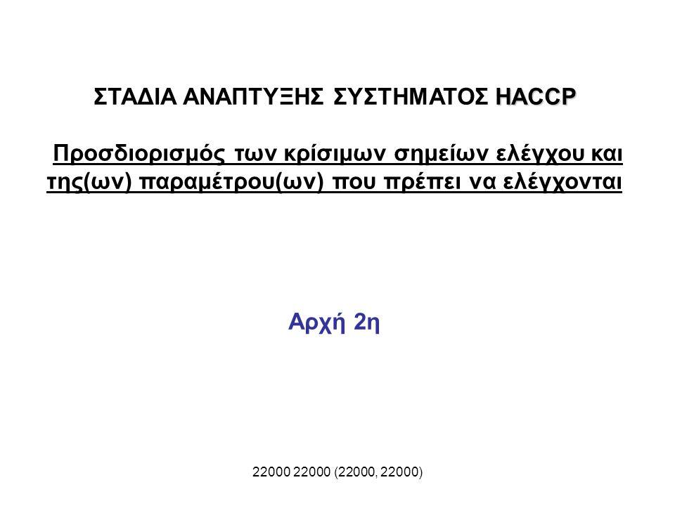 22000 22000 (22000, 22000) HACCP ΣΤΑΔΙΑ ΑΝΑΠΤΥΞΗΣ ΣΥΣΤΗΜΑΤΟΣ HACCP Προσδιορισμός των κρίσιμων σημείων ελέγχου και της(ων) παραμέτρου(ων) που πρέπει να