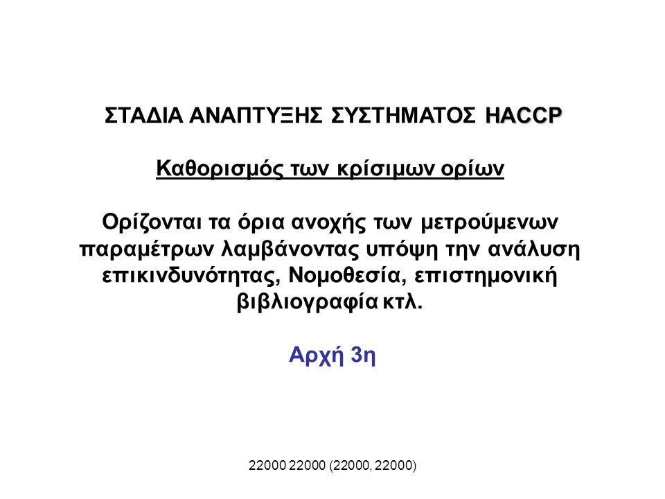 22000 22000 (22000, 22000) HACCP ΣΤΑΔΙΑ ΑΝΑΠΤΥΞΗΣ ΣΥΣΤΗΜΑΤΟΣ HACCP Καθορισμός των κρίσιμων ορίων Ορίζονται τα όρια ανοχής των μετρούμενων παραμέτρων λ