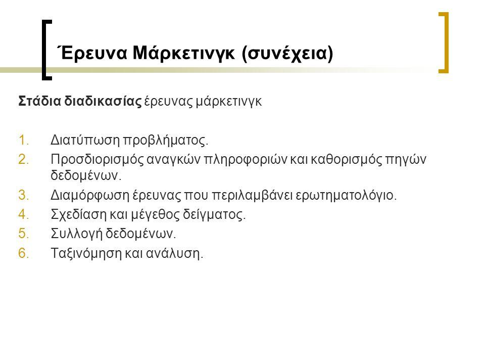 Έρευνα Μάρκετινγκ (συνέχεια) Στάδια διαδικασίας έρευνας μάρκετινγκ 1.Διατύπωση προβλήματος.