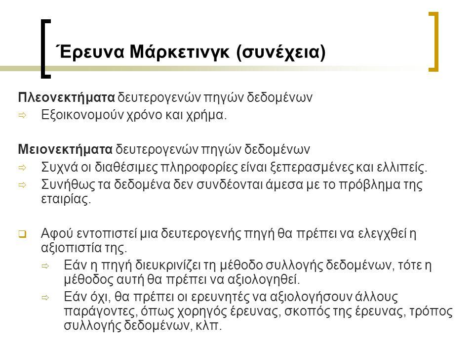 Έρευνα Μάρκετινγκ (συνέχεια) 3.Διαμόρφωση έρευνας που περιλαμβάνει ερωτηματολόγιο.