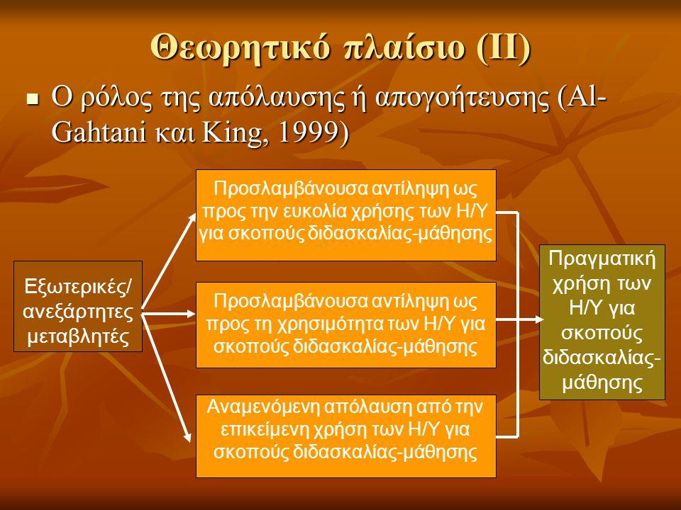 Θεωρητικό πλαίσιο (ΙΙ)  Ο ρόλος της απόλαυσης ή απογοήτευσης (Al- Gahtani και King, 1999) Προσλαμβάνουσα αντίληψη ως προς την ευκολία χρήσης των Η/Υ