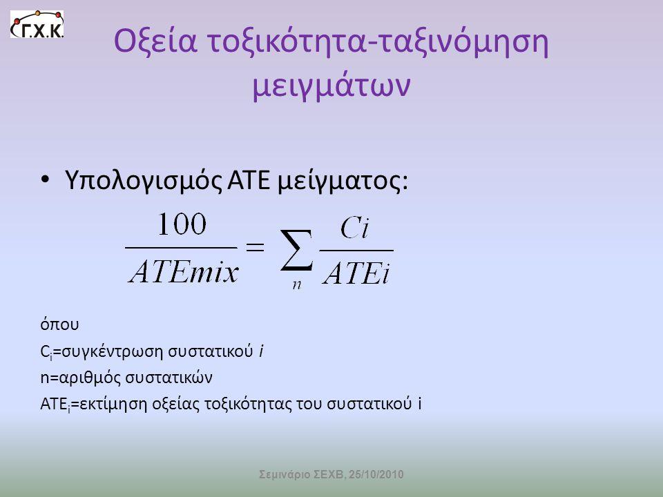 Οξεία τοξικότητα-ταξινόμηση μειγμάτων • Υπολογισμός ΑΤΕ μείγματος: όπου C i =συγκέντρωση συστατικού i n=αριθμός συστατικών ΑΤΕ i =εκτίμηση οξείας τοξι