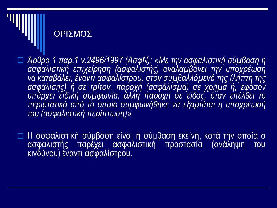 ΟΡΙΣΜΟΣ  Άρθρο 1 παρ.1 ν.2496/1997 (ΑσφΝ): «Με την ασφαλιστική σύμβαση η ασφαλιστική επιχείρηση (ασφαλιστής) αναλαμβάνει την υποχρέωση να καταβάλει,